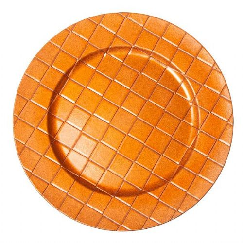 ORANGE Checkered Charger Plate / Underplates 33cm